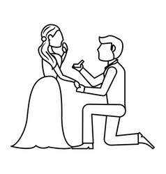 couple wedding ring romantic outline vector image