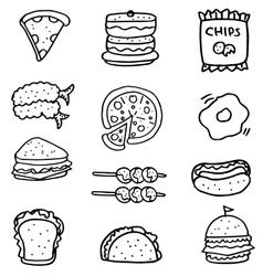Doodle of hand draw food set vector