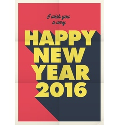 happy new year 2016 poster retro title vector image vector image