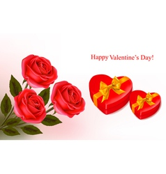 red roses and boxse vector image vector image
