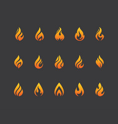 set of fire flame icons and logo isolated on black vector image vector image