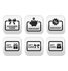 Voucher gift discount card buttons set vector image