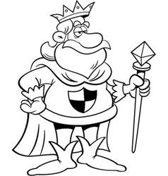 Cartoon king holding a scepter vector