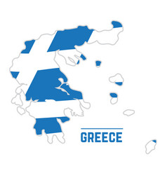 flag and map of greece vector image vector image