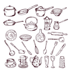hand drawn of kitchen tools vector image vector image