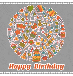 Happy Birthday card Hand drawn birthday elements vector image vector image