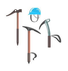 Ice axes and blue helmet equipment for vector