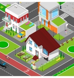 Isometric City Cottage Dormitory Area vector image vector image