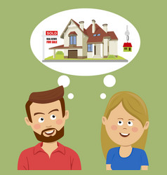 just married couple dreaming about new house vector image vector image