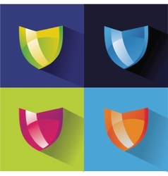 securitty icons flat set on colored background vector image