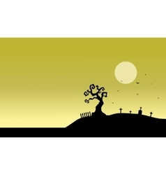 Silhouette of tomb and fields vector image vector image