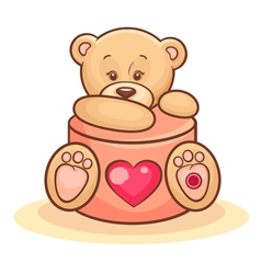 teddy and valentine gift vector image
