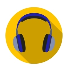 Vintage headphones icon in flat style isolated on vector image vector image
