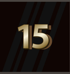15 years anniversary gold elegant number template vector