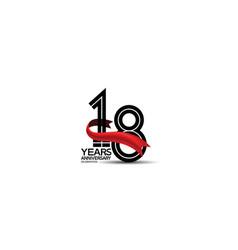 18 years anniversary logotype flat black color vector