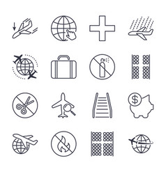 airport and plane navigation icons set icons set vector image