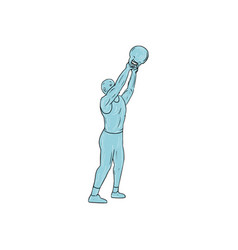 athlete fitness kettlebell swing drawing vector image