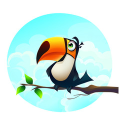 background a funny parrot vector image