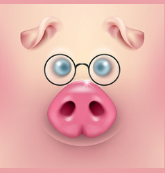 Background with 3d funny cartoon pig face vector