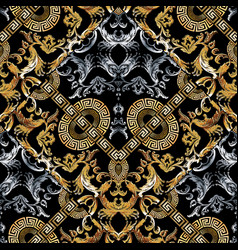Baroque seamless pattern black damask background vector