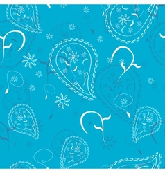 Blue abstract doodle flowers seamless pattern vector