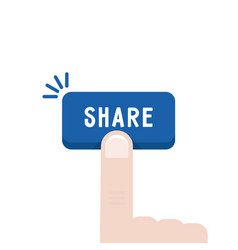 Blue share button with forefinger vector