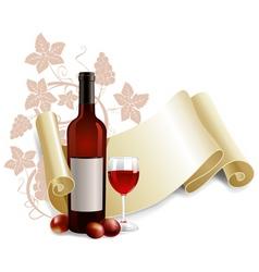 bottle and goblet wine vector image