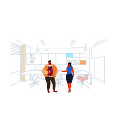 business people standing coworking space couple vector image