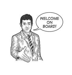 businessman lend hand for handshake sketch vector image