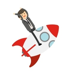 businessman on rocket icon vector image