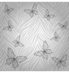 Butterflies of abstract striped background vector