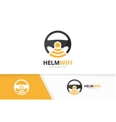 car helm and wifi logo combination vector image