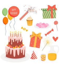 Cartoon festive birthday decoration collection vector