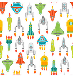 cartoon space ship or rocket background pattern vector image
