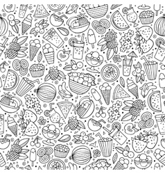 Cartoon summer time seamless pattern vector image