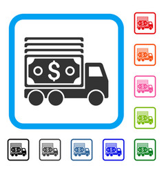 Cash lorry framed icon vector