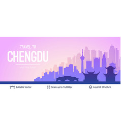 chengdu famous china city scape vector image