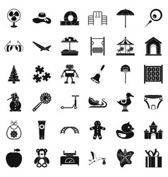Childhood icons set simple style vector