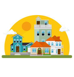 Colorful houses in neighborhood vector