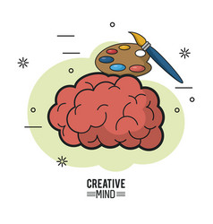 Colorful poster of creative mind with brain and vector