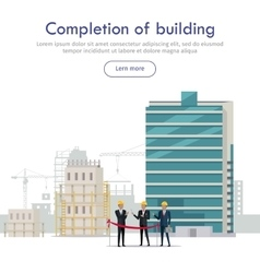Completion building cutting red line by man vector