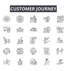 Customer journey line icons signs set vector