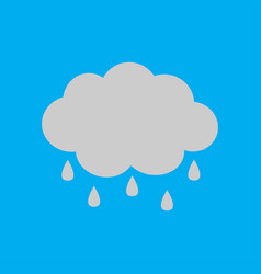 Cute cartoon cloud icon with rain drops isolated vector