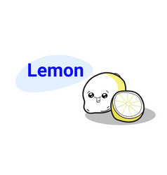 cute lemon cartoon comic character with smiling vector image