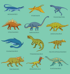 Dinosaurs set jurassic animals prehistoric vector