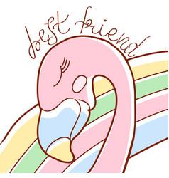 doodle pink flamingo vector image