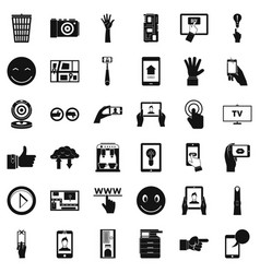 downloading icons set simple style vector image