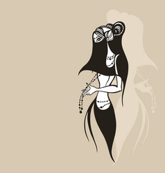 eastern woman silhouette hand drawn vector image
