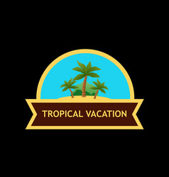 Emblem with tropical nature landscape vector