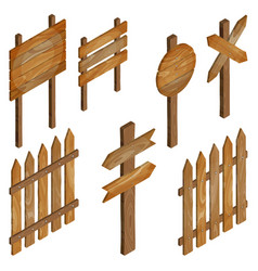 Fence wooden signboards arrow sign vector